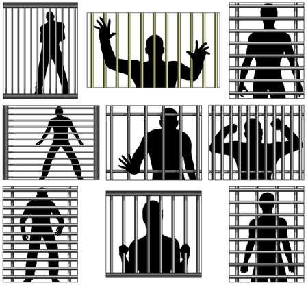 incarceration: Conjunto de dise�os vectoriales editables de los hombres detr�s de la c�rcel bares Vectores