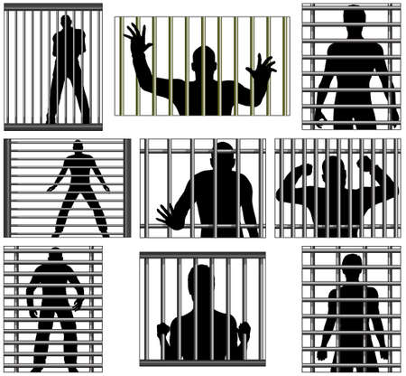 men bars: Set of editable vector designs of men behind prison bars