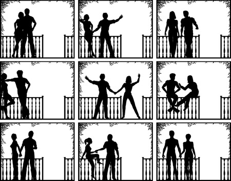 Set of editable vector illustrations of couples on a porch with people as separate objects Vector