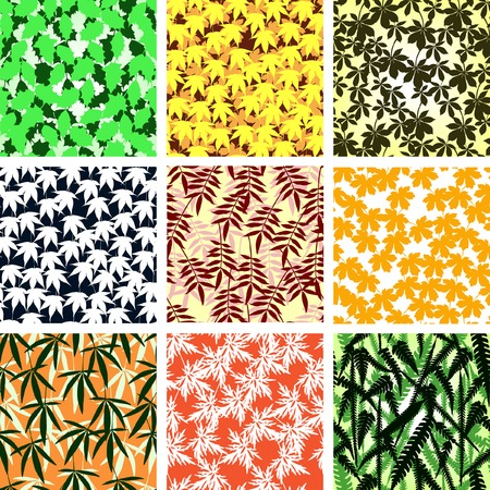 Set of editable vector seamless tiles of leaves Stock Vector - 4538153