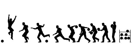 sequence: Editable vector silhouette sequence of a man bowling Illustration