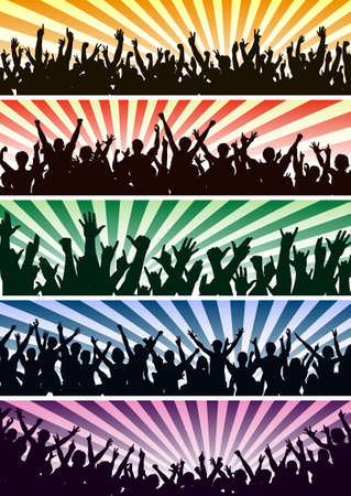 cheer: Set of editable vector concert crowd silhouettes with all people as separate objects Illustration