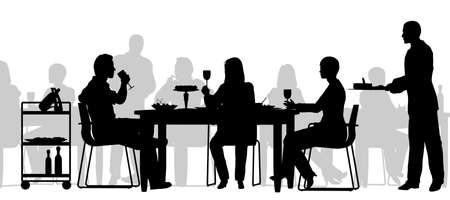 restaurant eating: Editable vector silhouette of people eating in a restaurant with all figures as separate objects