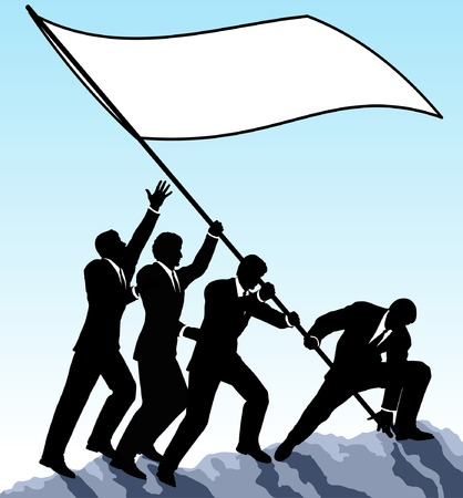 raise: Editable vector illustration of businessmen raising a flag with all elements as separate objects
