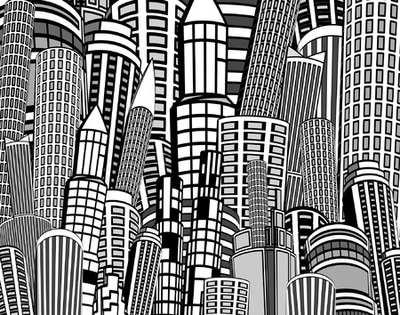 skyscrapers: Editable vector background illustration of a cartoon city