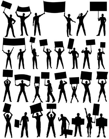 manifestacion: Conjunto de siluetas vectoriales editables de manifestantes con pancartas y todos los elementos como objetos separados