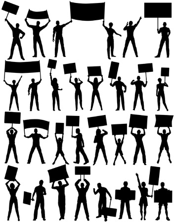 Set of editable vector silhouettes of protesters and banners with all elements as separate objects Vector