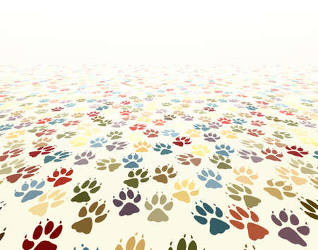 dog run: Editable vector illustration of dog paw prints Illustration