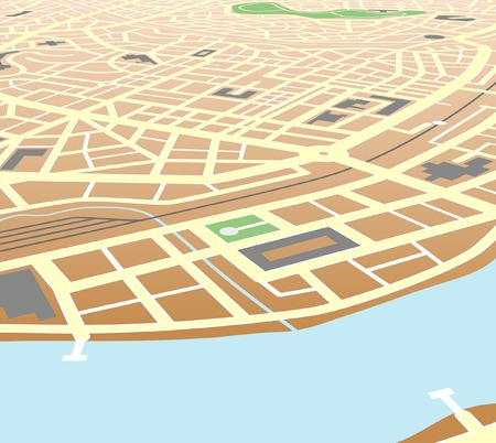 Editable vector map of a generic city at an angled perspective Vector