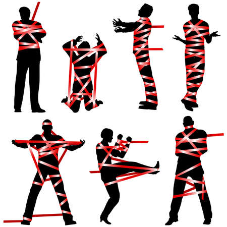 confined: Set of editable vector silhouettes of people wrapped in red tape Illustration