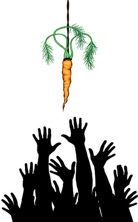 dangle: Editable vector illustration of arms reaching for a carrot