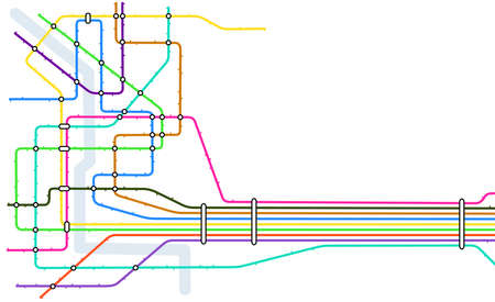 space station: Editable vector map of a generic subway system with copy space