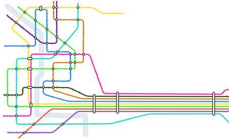 estación del metro: Mapa vectorial editable de un sistema gen�rico de metro con copia espacio