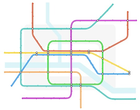 zoned: Editable vector illustration of a generic color-coded subway train map