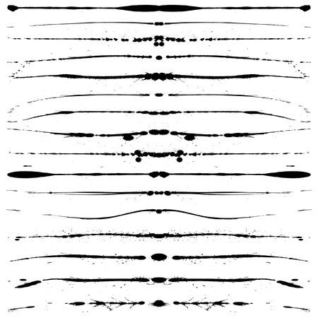 linee vettoriali: Set di vettoriale modificabile grunge per le interruzioni di linee di testo, punti ecc Vettoriali