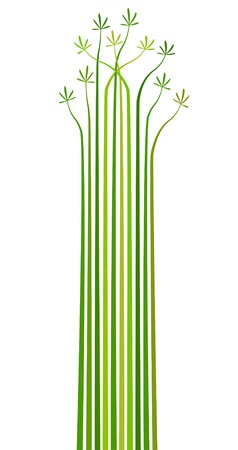 Abstract editable vector design element of stripes and leaves Vector