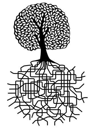 Editable vector design of a tree with root system Vector