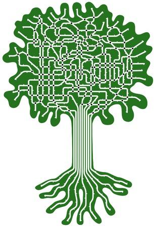 groviglio: Vettoriale modificabile metropolitana mappa in forma di un albero