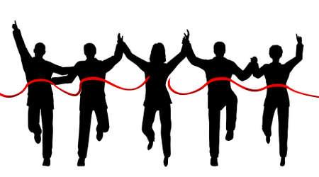 separato: Silhouette di un team di imprese che attraversano una linea di finitura con ogni persona come un oggetto separato