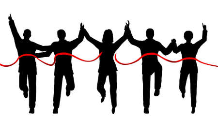 teamwork together: Silhouettes of a business team crossing a finishing line with each person as a separate object