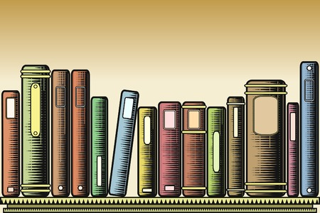 hardback: Editable vector illustration of books on a shelf in woodcut style