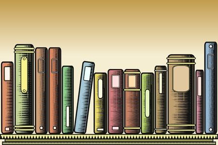 books on shelf: Editable vector illustration of books on a shelf in woodcut style