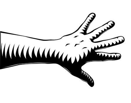 rash: Editable vector illustration of a hand in woodcut style Illustration