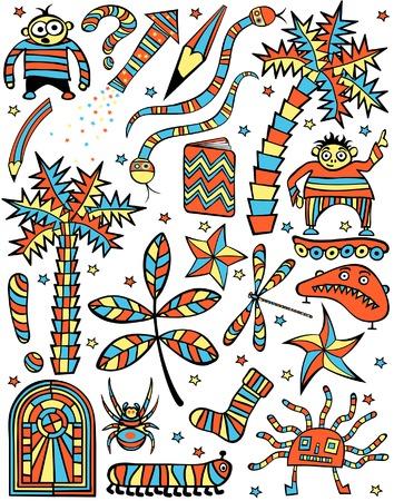 Set of colorful editable vector cartoon design elements Vector