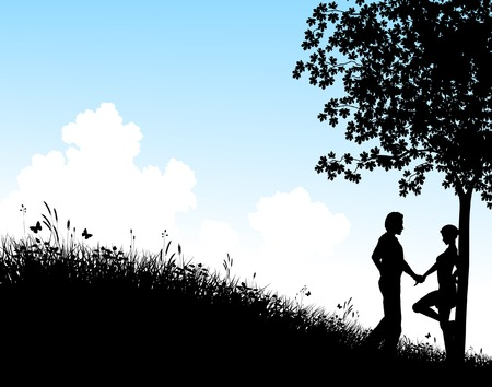 Editable vector silhouette of a young couple in a field with people, tree and grass as separate elements Vector