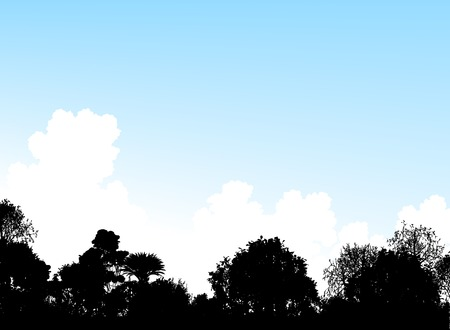 thicket: Editable vector illustration of tree silhouettes and a summer sky