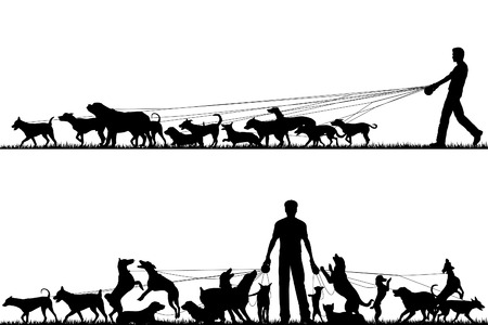 Two foreground silhouettes of a man walking many dogs with all elements as separate editable objects Vector