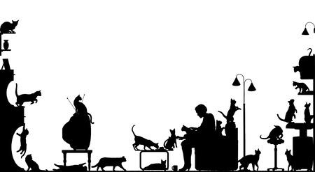 silueta de gato: En primer plano la silueta de una mujer en una sala de estar con veinte gatos, con todos los elementos por separado, como objetos editables Vectores