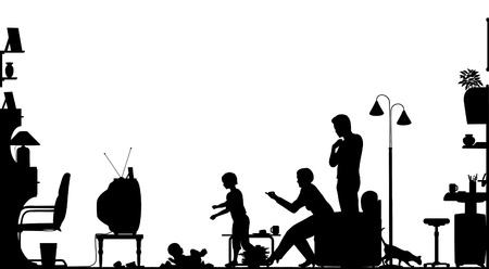 Foreground silhouette of a family in a living room with all elements as separate editable objects Vector