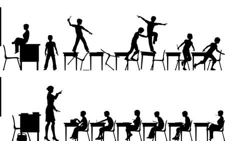 classrooms: Editable vector silhouettes of two classroom scenes with all elements as separate objects