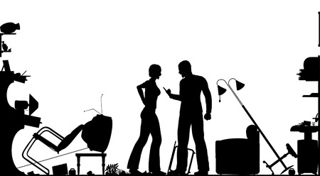 messy room: Foreground silhouette of a couple having a serous domestic argument in a living room with all elements as separate editable objects Illustration
