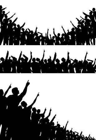 regard: Lot de silhouettes vectoriel �ditable des foules de pointage et levant les yeux avec toutes les figures comme des objets distincts