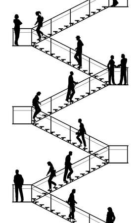 walking down: Editable vector silhouettes of people walking up and down flights of stairs with all elements as separate objects