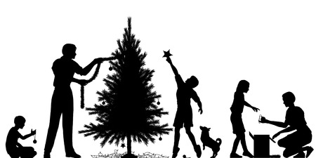 decorating christmas tree: Editable vector silhouette of a family decorating a Christmas tree with all elements as separate objects Illustration