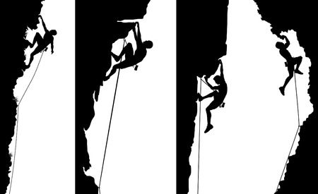 climbing: Set of editable vector side panel silhouettes of climbers with all elements as separate objects