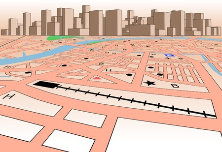 Vector streetmap of a generic city plus skyline Vector