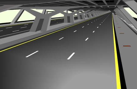 thoroughfare: Vector illustration of a carless highway and concrete structure Illustration