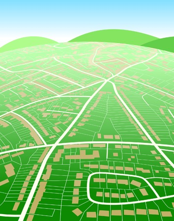 Editable vector illustration of a generic street map and green hills Vector