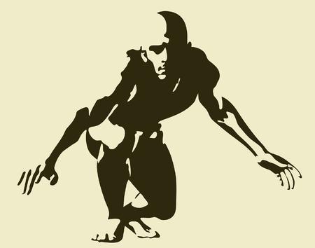 poise: Ilustraci�n vectorial editable de un hombre dispuesto a abalanzar incluyendo completo esquema de figura