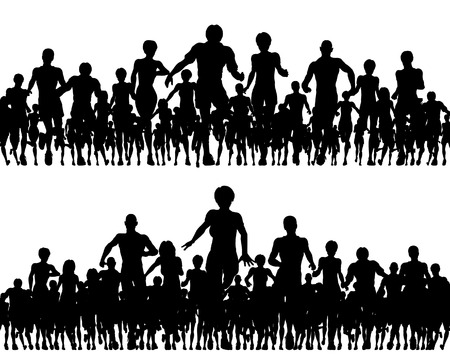 Editable vector silhouettes of a many people running Vector