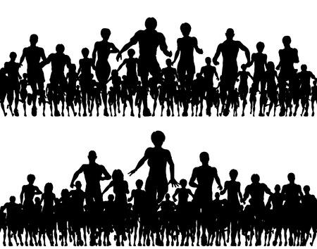 mucha gente: Siluetas de vectorial editable de un n�mero de personas que ejecutan