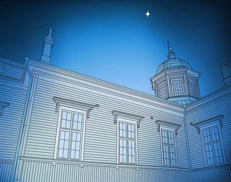 Illustration of a star over a wooden church Stock Illustration - 5666373