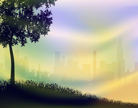 Illustration of a city skyline from parkland illustration