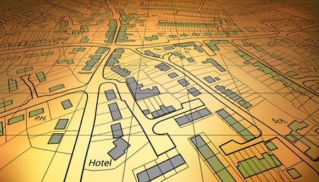 angled view: Angled view of a housing map of a generic town Stock Photo