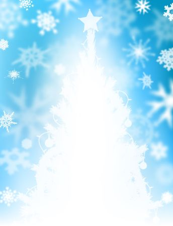 Illustrated background design of snow and a Christmas tree photo