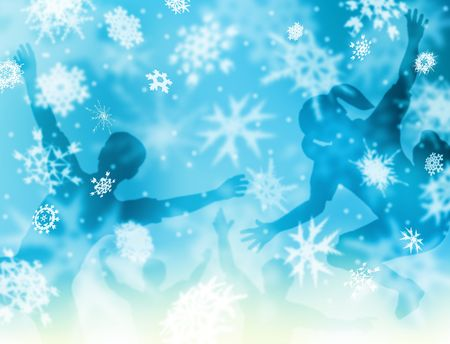 Background illustration of softly falling snowflakes and happy children Stock Illustration - 5690758